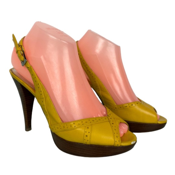 Marc Fisher Shoes - Marc Fisher Venda Yellow Slingback Open Toe Heels